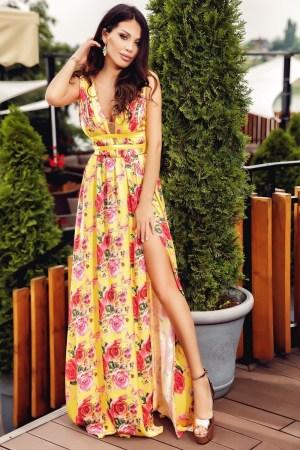 Rochie lunga galbena cu imprimeu floral