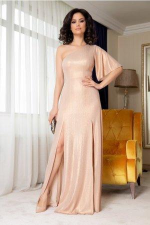 Rochie crem lunga eleganta cu reflexii aurii Moze