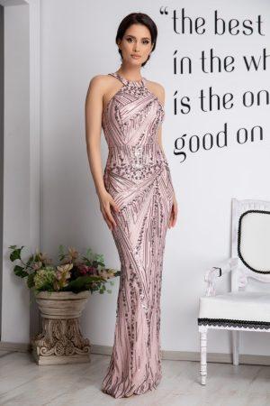 Rochie de ocazie rose accesorizata cu dantela si paiete