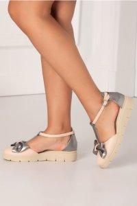 Pantofi decupati roz pal cu insertii argintiu metalizat si fundita maxi