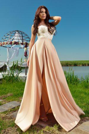 Rochie de seara ivoire cu corset floral