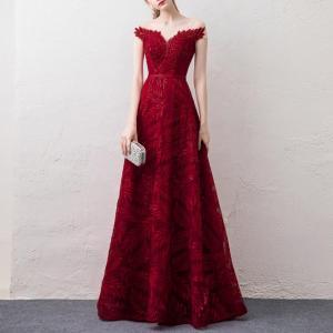 Rochie de seara lunga eleganta cu broderie si margele