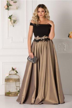 Rochie de seara neagra lunga eleganta cu broderie