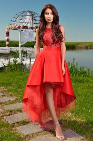 Rochie de seara rosie asimetrica din tafta