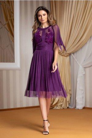Rochie de seara scurta eleganta din tulle de matase naturala