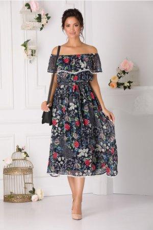 Rochie de zi cu imprimeu floral si umeri goi