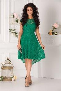Rochie de zi verde eleganta asimetrica
