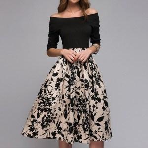Rochie eleganta de zi cu fusta clos