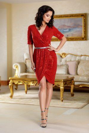 Rochie rosie eleganta scurta tip lalea