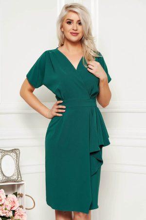 Rochie verde midi eleganta de zi