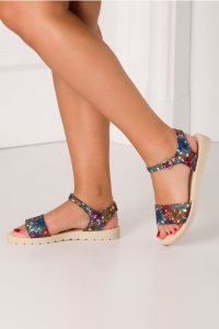 Sandale casual cu imprimeuri colorate