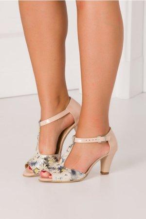 Sandale cu toc si imprimeuri florale