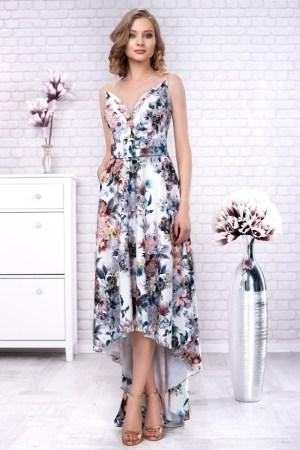 Rochie de ocazie asimetrica cu imprimeu floral
