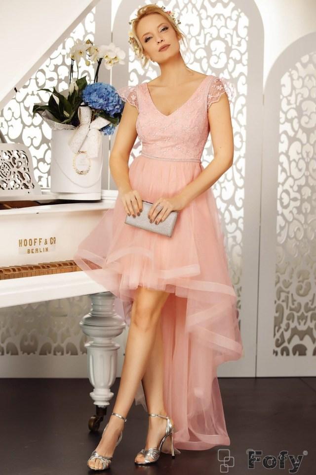 Rochie de seara rose asimetrica cu broderie pretioasa