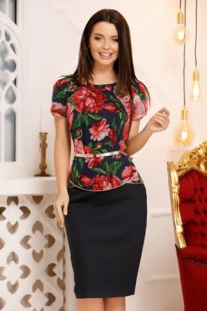 Compleu dama elegant cu fusta conica si bluza cu imprimeu floral