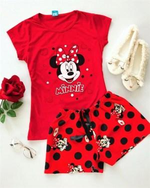 Pijama dama Minnie Mouse scurta din bumbac cu imprimeu