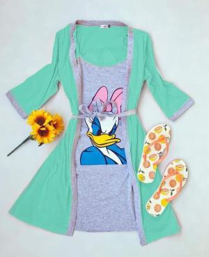 Pijama dama turcoaz alcatuita din halat cu maneca lunga si rochie scurta din bumbac cu imprimeu