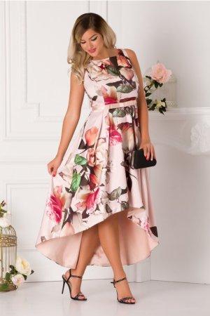 Rochie de ocazie de zi asimetrica imprimeu cu trandafiri