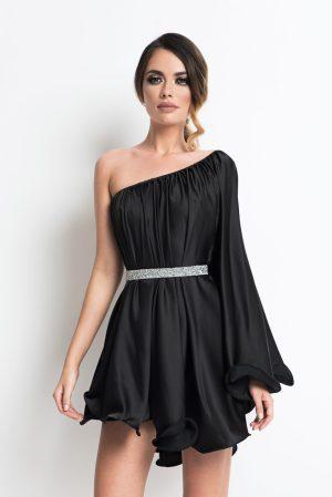 Rochie de ocazie scurta eleganta pe un umar cu maneca lunga