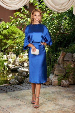 Rochie de seara eleganta de ocazie midi in clos din satin