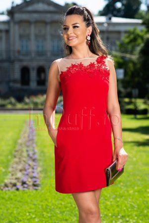 Rochie de seara eleganta rosie cu flori 3D la bust