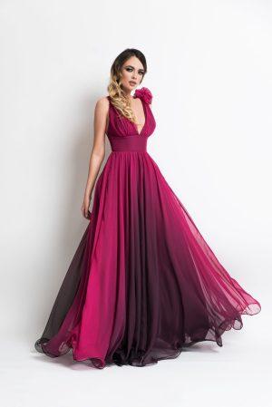 Rochie de seara lunga eleganta cu decolteu in v din voal in degrade