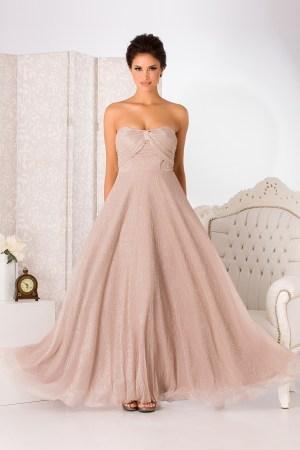 Rochie de seara lunga eleganta cu insertii din fir argintiu