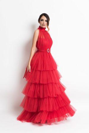 Rochie de seara lunga eleganta din mai multe straturi de tulle