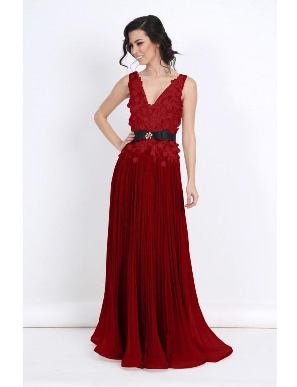 Rochie de seara lunga eleganta din matase cu broderie cu margele