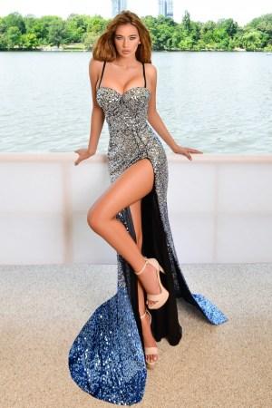 Rochie de seara lunga eleganta din paiete cu crapatura pe picior