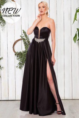 Rochie de seara lunga eleganta din tafta cu crapatura pe picior