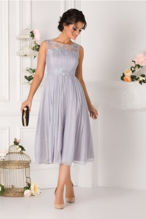 Rochie de seara si de ocazie midi eleganta cu broderie florala