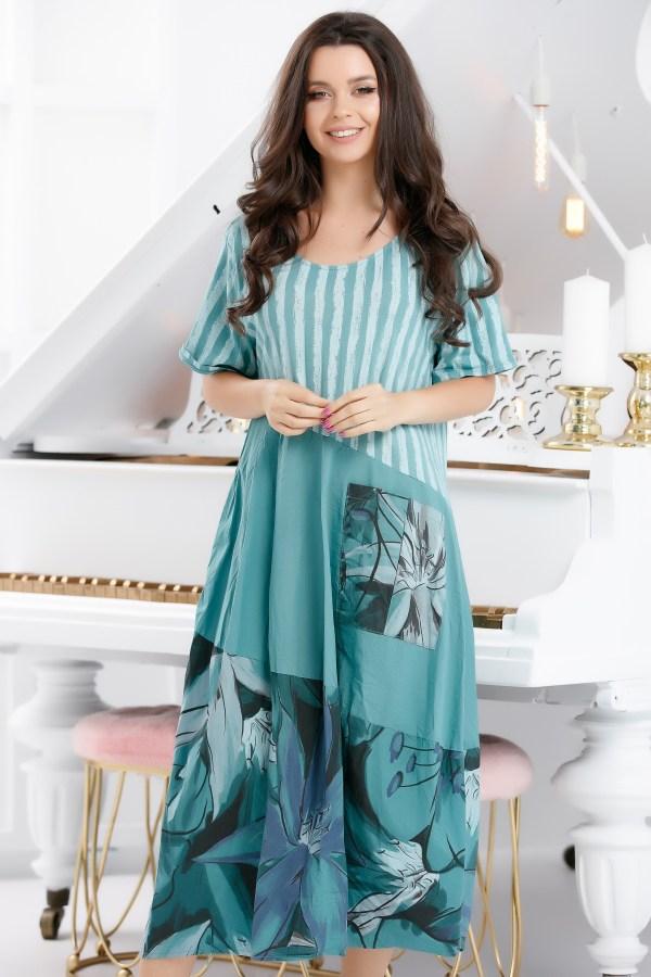 Rochie de zi de vara midi casual cu imprimeu colorat si croi lejer