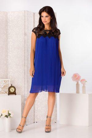 Rochie de zi eleganta albastra scurta din voal cu pliuri