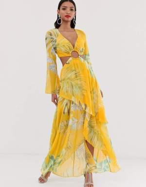 Rochie de zi eleganta cu imprimeu tropical si decupaje Asos