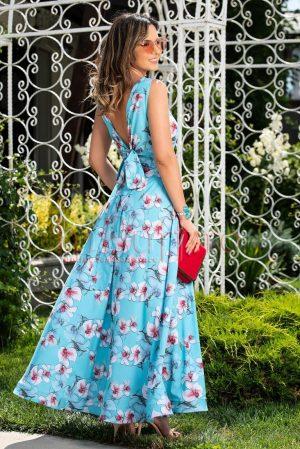 Rochie de zi lunga eleganta bleu cu imprimeu floral