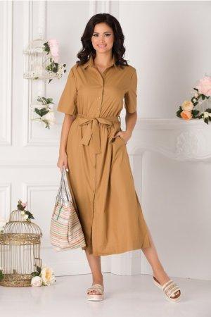 Rochie de zi lunga maro tip camasa
