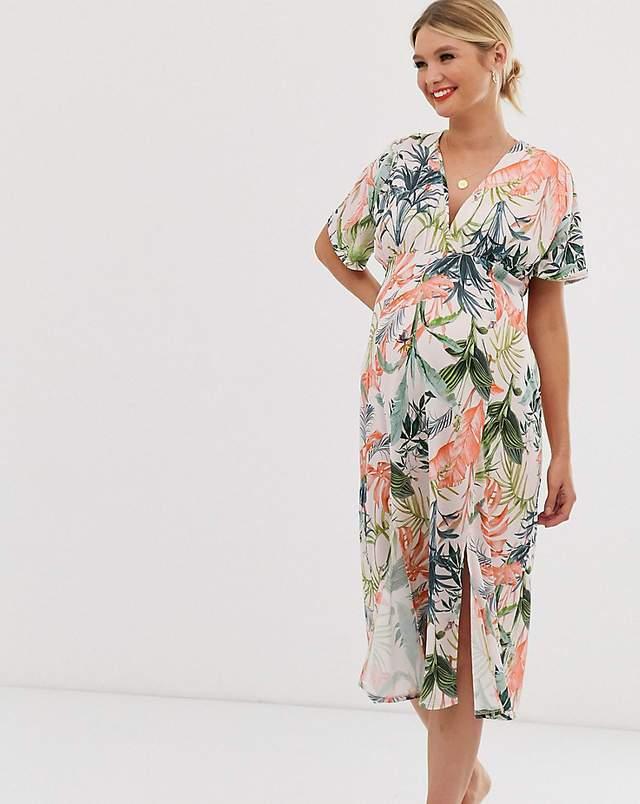 Rochie de zi midi pentru gravide cu imprimeu floral Asos