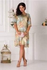 Rochie de zi si de ocazie eleganta cu imprimeu floral si lurex auriu