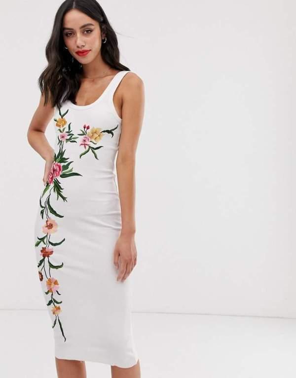 Rochie de zi si de vara alba cu imprimeu floral