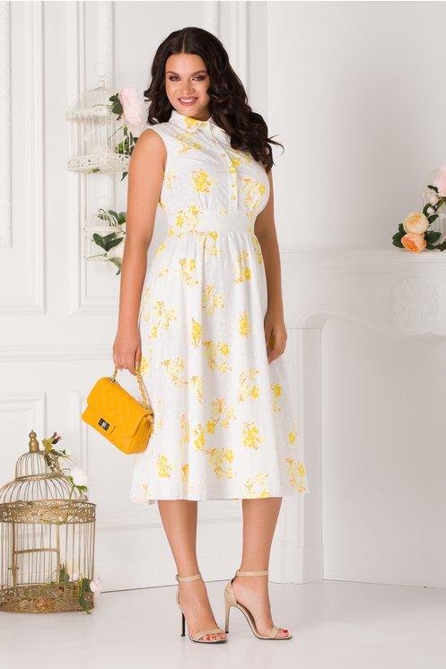 Rochie de zi si de vara cu nasturi la bust si floricele galbene