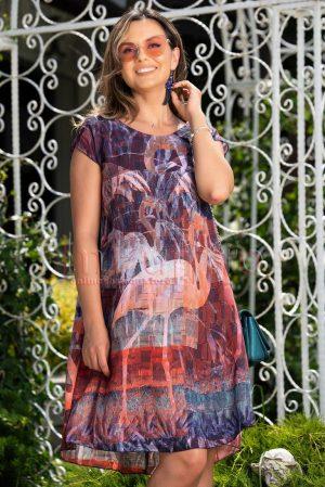 Rochie de zi si de vara din voal cu imprimeu