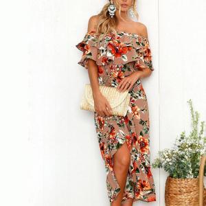 Rochie eleganta cu imprimeu floral si umeri goi