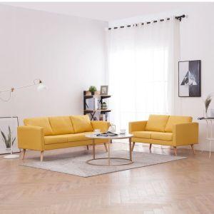 Set de canapele 2 piese galben material textil
