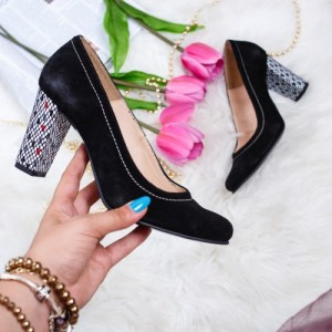 Pantofi dama cu toc piele naturala negri Jalillew