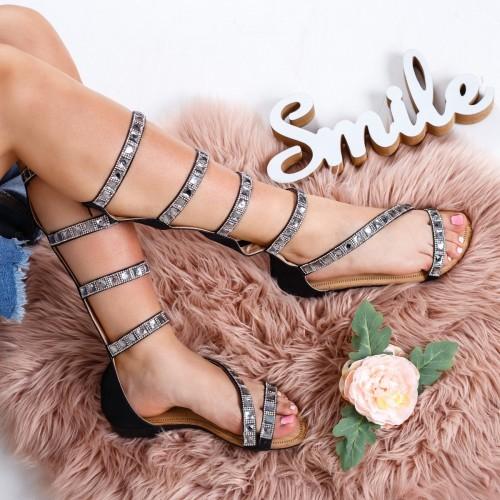 Sandale dama cu talpa joasa piele ecologica negre inalte Ederila