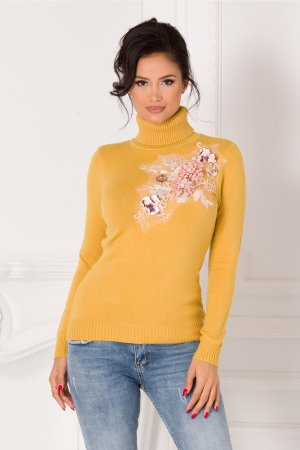 Bluza galben mustar cu guler si broderie 3D la bust