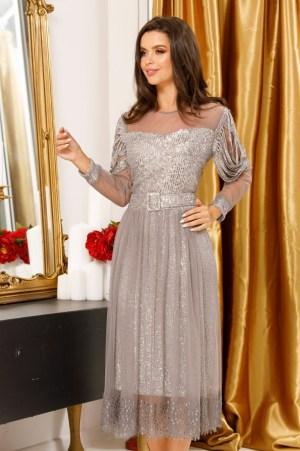 Rochie Eleganta Argintie cu Maneci Lungi