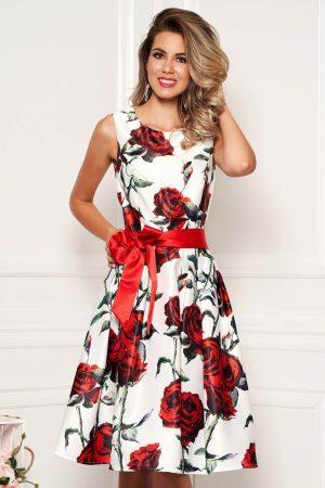 Rochie alba midi de ocazie din satin croi in clos cu imprimeu floral