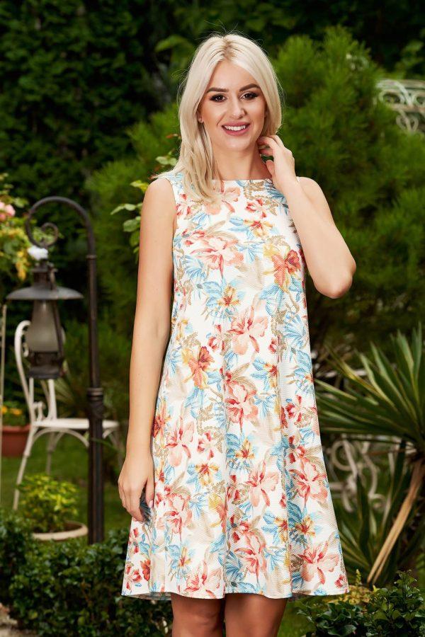 Rochie alba scurta de zi cu croi in a fara maneci cu imprimeu floral